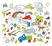 L'insieme dei disegni in bambino gradisce lo stile Fotografia Stock