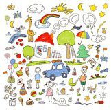 L'insieme dei disegni in bambino gradisce lo stile Immagini Stock Libere da Diritti