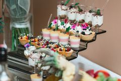 L'insieme dei dolci e dei dessert differenti dei dolci ha sistemato su un piatto Barra di caramella del partito Immagine Stock