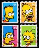 Francobolli di manifestazione di TV di Simpsons Fotografia Stock Libera da Diritti