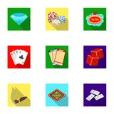 L'insieme dei giochi del casinò di simboli Giocando per i soldi Chip, domino, casinò Casinò ed icona di gioco nella raccolta dell Immagini Stock