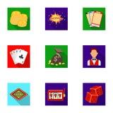 L'insieme dei giochi del casinò di simboli Giocando per i soldi Chip, domino, casinò Casinò ed icona di gioco nella raccolta dell Fotografia Stock