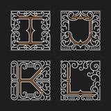 L'insieme dei modelli alla moda dell'emblema del monogramma Lettere I, J, K, L Illustrazione di vettore illustrazione vettoriale