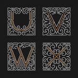 L'insieme dei modelli alla moda dell'emblema del monogramma Lettere U, V, W, X Illustrazione di vettore illustrazione di stock