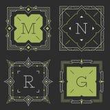 L'insieme dei modelli graziosi alla moda dell'emblema del monogramma Illustrazione di vettore illustrazione vettoriale
