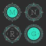 L'insieme dei modelli graziosi alla moda dell'emblema del monogramma Illustrazione di vettore Fotografia Stock Libera da Diritti