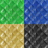 L'insieme dei modelli senza cuciture di cuoio/oro, verde, blu, il nero può Fotografia Stock Libera da Diritti
