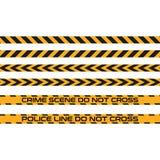 L'insieme dei nastri senza cuciture, linea di vettore di polizia non attraversa Zona pericolosa, avvertente Fotografia Stock Libera da Diritti