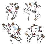 L'insieme dei personaggi dei cartoni animati della capra, raggruppa 2 - Vector l'illustrazione Immagine Stock