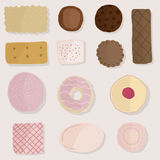 L'insieme dei prodotti del pane, elementi del forno progetta Fotografia Stock Libera da Diritti