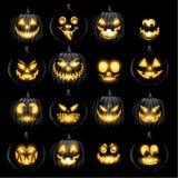 L'insieme dei pumkins Halloween della lanterna della presa o affronta Fotografie Stock
