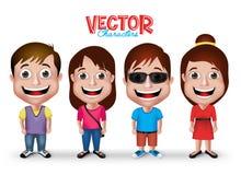 L'insieme dei ragazzi realistici 3D ed adulto delle ragazze di giovane scherza i caratteri illustrazione vettoriale