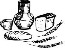 L'insieme dei regali del villaggio, latte, pane Nel colore nero, la VE Immagini Stock Libere da Diritti