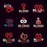 L'insieme dei simboli di vettore ha creato sul tema di donazione di sangue, tra del sangue illustrazione vettoriale