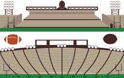 L'insieme del campo dello stadio e di rugby di football americano abbellisce Fotografia Stock