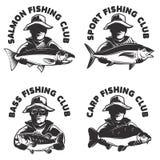 L'insieme del club di pesca identifica i modelli Siluetta del pescatore con illustrazione di stock