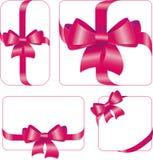 L'insieme del color scarlatto del regalo si piega con il vettore dei nastri Fotografia Stock