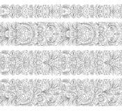 L'insieme del confine d'annata spazzola i modelli Gli elementi floreali barrocco per le strutture progettano ed impaginano le dec illustrazione di stock