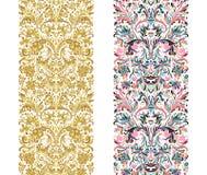 L'insieme del confine d'annata spazzola i modelli Gli elementi floreali barrocco per le strutture progettano ed impaginano le dec royalty illustrazione gratis