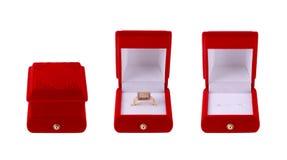 L'insieme del contenitore di anello si è chiuso, aperto, vuoto ed in pieno Fotografia Stock Libera da Diritti