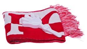 L'insieme del corredo, aggeggi lucida la sciarpa del tifoso e la maniglia c di bianco Fotografie Stock