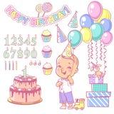 L'insieme del costruttore della torta di compleanno e la tenuta felice del ragazzo balloon Immagine Stock Libera da Diritti