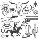 L'insieme del cowboy ad ovest selvaggio ha progettato gli elementi Fotografia Stock Libera da Diritti