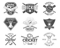L'insieme del cricket mette in mostra le progettazioni di logo icone elementi di progettazione degli emblemi T di sport distintiv Fotografie Stock