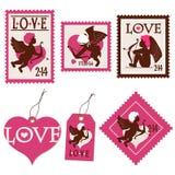 L'insieme del Cupido del giorno del biglietto di S. Valentino timbra ed etichetta Fotografia Stock Libera da Diritti