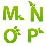 L'insieme del eco verde segna il logo con lettere con le foglie Fotografia Stock Libera da Diritti