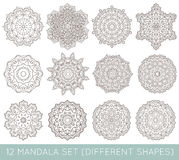 L'insieme del frattale etnico Mandala Vector Meditation Tattoo guarda il lik Fotografie Stock