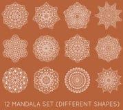 L'insieme del frattale etnico Mandala Vector Meditation Tattoo guarda il lik Fotografia Stock