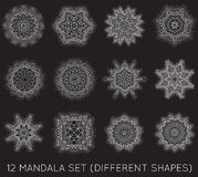L'insieme del frattale etnico Mandala Vector Meditation Tattoo guarda il lik Immagine Stock Libera da Diritti