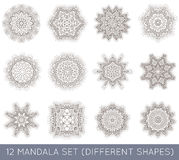 L'insieme del frattale etnico Mandala Vector Meditation Tattoo guarda il lik Fotografia Stock Libera da Diritti