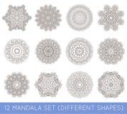 L'insieme del frattale etnico Mandala Vector Meditation Tattoo guarda il lik Immagini Stock Libere da Diritti