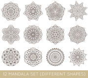 L'insieme del frattale etnico Mandala Vector Meditation Tattoo guarda il lik Fotografie Stock Libere da Diritti