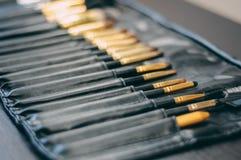 L'insieme del fronte professionale compone il set di pennelli per visagiste nel salone di bellezza Cosmetico, accessori di cura d Immagine Stock Libera da Diritti