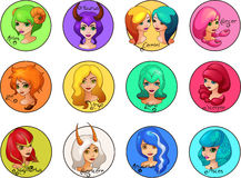 L'insieme del fumetto di zodiaco firma le ragazze sveglie Fotografia Stock Libera da Diritti