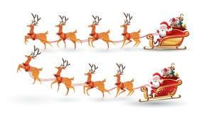 L'insieme del fumetto del Natale Santa Claus guida la slitta della renna sul Natale con emozione differente di posa Isola dell'il illustrazione vettoriale