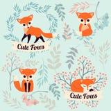 L'insieme del fumetto sveglio foxes nello stile piano semplice moderno Illustrazione di vettore Fotografie Stock Libere da Diritti