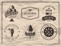 L'insieme del gelato badges su fondo di carta d'annata Fotografia Stock