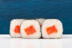L'insieme del giapponese semplice rotola con il salmone, il riso e il nori sopra in profondità Immagine Stock