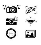 L'insieme del logo della macchina fotografica, icone, bottoni progetta Fotografie Stock Libere da Diritti