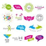 L'insieme del logos di vettore vi ringrazia Immagine Stock Libera da Diritti