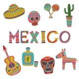 L'insieme del Messico, simboli del fumetto messicano della cultura vector le illustrazioni Fotografie Stock Libere da Diritti