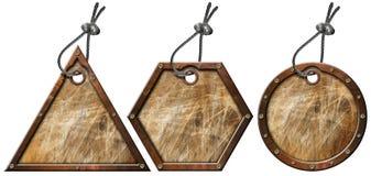 L'insieme del metallo di Grunge etichetta - 3 elementi Immagine Stock Libera da Diritti