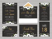 L'insieme del modello della serie di nozze decora con i fiori bianchi royalty illustrazione gratis