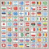 L'insieme del mondo indica le bandiere Immagine Stock Libera da Diritti