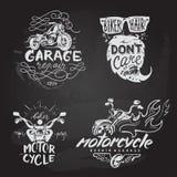L'insieme del motociclo d'annata simbolizza, etichette, distintivi, Fotografie Stock