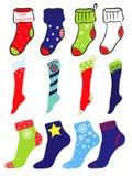 L'insieme del Natale, l'inverno e l'America modellano i calzini Immagini Stock